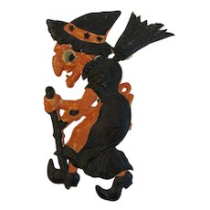 German Halloween Witch with Broom Pressed or Embossed Die Cut Cardboard Germany Hanging Decoration