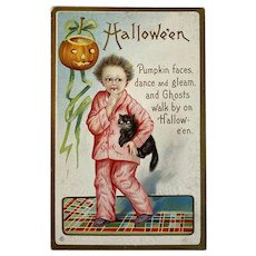Stecher Litho Co Halloween Postcard 226 E Boy in Pajamas with Black Cat JOL Jack O Lantern Hair Standing on End