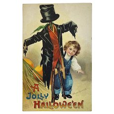 Unused Clapsaddle Halloween Postcard IAP Scarecrow and Boy Germany German Series 1238 Signed