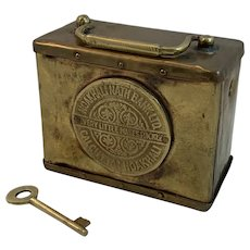 Brass Money Box Bank from Noakhali Calcutta with Key