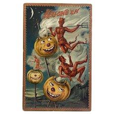 1909 Tuck's Hallowe'en Postcard Series 160 Devils Pitchforks Steaming Jack O Lantern JOL Embossed Raphael Tuck & Sons Halloween Jackolantern