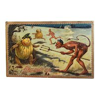 Tuck's Hallowe'en Postcard Series 160 Devils with Pitchforks Chasing Pumpkin Men Embossed Raphael Tuck & Sons Halloween
