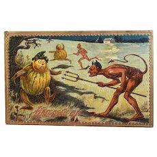 Tuck's Hallowe'en Postcard Series 160 Devils with Pitchforks Chasing Pumpkin Men Embossed Raphael Tuck & Sons Halloween