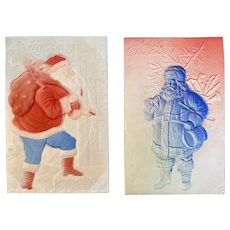 2 Santa Claus Postcards Embossed Airbrushed Red White and Blue