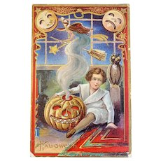 Nash Halloween Postcard Little Boy JOL Ethereal Witch Flying Owl Moons Embossed Jackolantern Jack O Lantern Unused Series 5