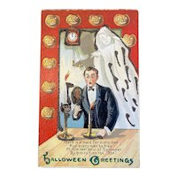 Albert Wilson Halloween Postcard JOL Ghost Man Mirror Black Cat Candles Jack O Lantern Border Glitter Embossed Saxony