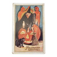 Nash Halloween Postcard Male Witch Devils Broom Black Cat Embossed Jackolantern Jack O Lantern Hallowe'en Greetings