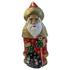 Russian Folk Art Santa Claus Hand Painted Carved Wood Russia