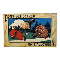 Bergman Don't Get Scared on Halloween Postcard JOL Man Chasing Boy Jack O Lantern 9086