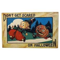 Bergman Don't Get Scared on Halloween Postcard JOL Man Chasing Boy Jack O Lantern 9086