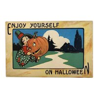Bergman Enjoy on Halloween Postcard JOL Man Chasing Boy Jack O Lantern 9086
