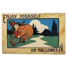 Bergman Enjoy on Halloween Postcard JOL Man Chasing Boy Jack O Lantern 9086