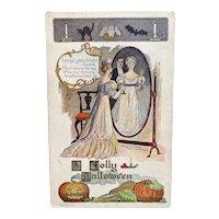 1907 Unused Lounsbury Halloween Postcard Lady in Mirror Bats Black Cat Edwardian Era Embossed