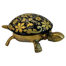 Damascene BOJ Brass Turtle Hotel Call Bell from Eibar Spain
