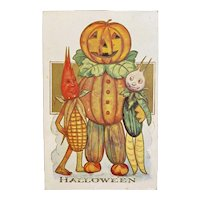 Anthropomorphic Pumpkin Vegetable Man Halloween Postcard Embossed Unused JOL Jack o Lantern