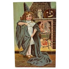 P Sander Halloween Postcard Embossed Girl Witch in Blue Cloak Owl JOL Cauldron Fireplace