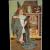 P Sander Halloween Postcard Embossed Girl Witch in Blue Cloak Owl JOL Cauldron Fireplace