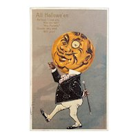 German 1907 Tower Halloween Postcard Pumpkin Man Embossed Poem Wife Mrs Dapper Monocle