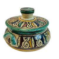 Spanish Pottery Bowl with Lid Signed DC