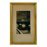 Hand Colored Etching by T Roux French Artist