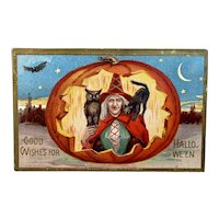 1909 L R Conwell Halloween Postcard Witch Red Cloak and Hat in Jack o Lantern JOL Black Cat Owl