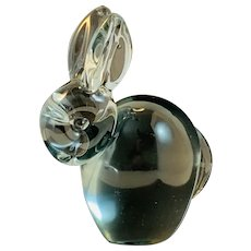 Custom Rabbit Glass Paperweight with Applied Head, Ears and Tail