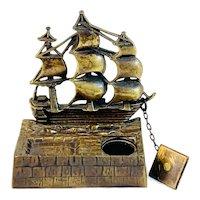 English Victory Brass Sailing Ship Inkwell