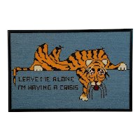 Humorous Tiger Framed Needlepoint
