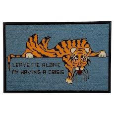 Humorous Tiger Framed Needlepoint