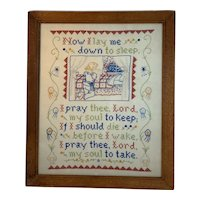 Framed Embroidery Cross Stitch Nursery Rhyme Verse Child Prayer