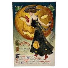 1911  Winsch Samuel Schmucker Greetings at Halloween Postcard Lady in Owl Hat Fan Jack O Lantern Goblins Embossed Germany