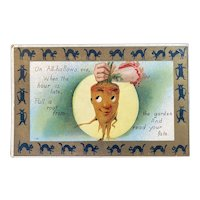Embossed Halloween Postcard Pull a Root from the Garden on All Hallows Eve Black Cat Border