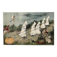 October 31 1912 Postmark G.K. Price Halloween Postcard Ghosts Witch Witches Cauldron Pumpkin Black Cat