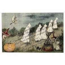 October 31 1912 Postmark G.K. Price Halloween Postcard Ghosts Witch Witches Cauldron Pumpkin Black Cat