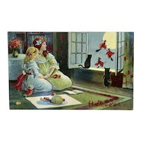 Unused Halloween Postcard by Valentine & Sons Black Cats and Girls Watching Witches Fly Outside the Window