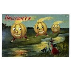 Unused Halloween Postcard by Valentine & Sons Pumpkin JOL Men Black Cat Witch Anthropomorphic Jack O Lantern