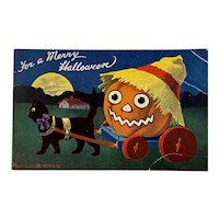 Bernhardt Wall Artotype Halloween Postcard by Valentine & Sons Black Cat Pulling a Pumpkin in Cart Artist Signed