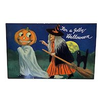 Bernhardt Wall Artotype Halloween Postcard by Valentine & Sons Witch Pumpkin JOL Head Ghost Black Cat Artist Signed