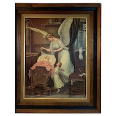 Guardian Angel and Cherub Protecting a Baby in a Crib Print in Walnut Frame