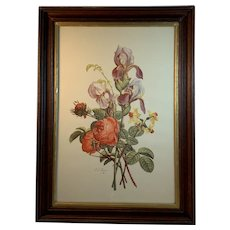 Jean Louis Prevost Rose and Lilly Botanical Print