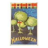 Signed Clapsaddle Halloween Postcard International Art Publishing Co IAP Cabbage Heads Scottish Tartan Plaid Poem 978
