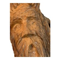 Hand Carved Old Wise Man on Driftwood