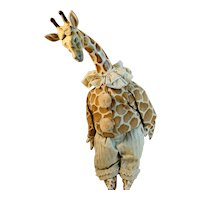 Hand Made Artisan Giraffe Dressed with Paper Mache Head  Stuffed Toy