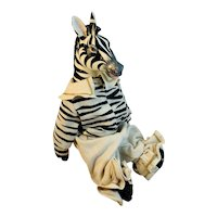 Hand Made Artisan Zebra Dressed with Paper Mache Head Stuffed Toy