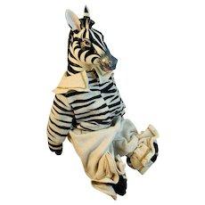 Hand Made Artisan Zebra Dressed with Paper Mache Head Stuffed Toy