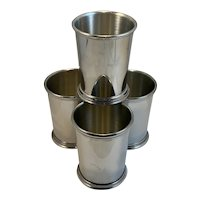 4 Salisbury Pewter Mississippi Mint Julep Cups Beaded Edge Hand Crafted