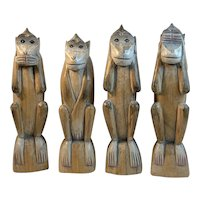 4 Wise Carved Wood Monkeys See Speak Hear Touch No Evil Folk Art