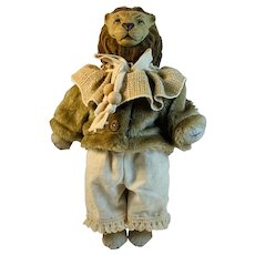 Hand Made Artisan Lion with a Paper Mache Head and Flocked Mane Stuffed Toy