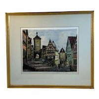 Color Etching Clock Tower Rothenberg Germany by Ernest Geissendorfer (1908-1993)