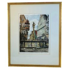 Color Etching St George Rothenberg Germany by Ernest Geissendorfer (1908-1993)